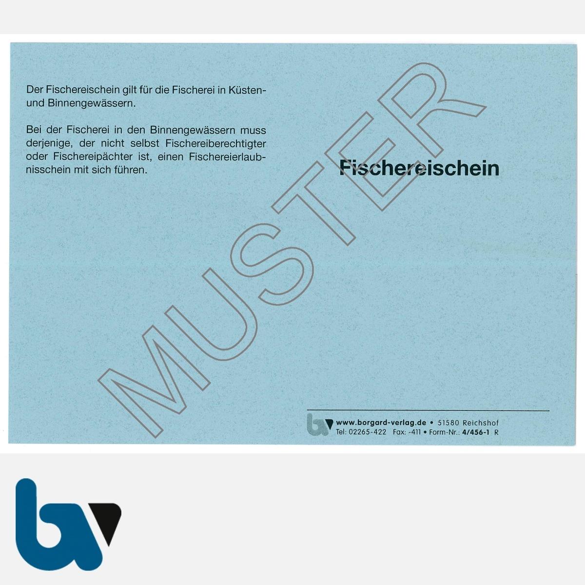 4/456-1 Fischereischein Niedersachsen blau Neobond Muster VS | Borgard Verlag GmbH