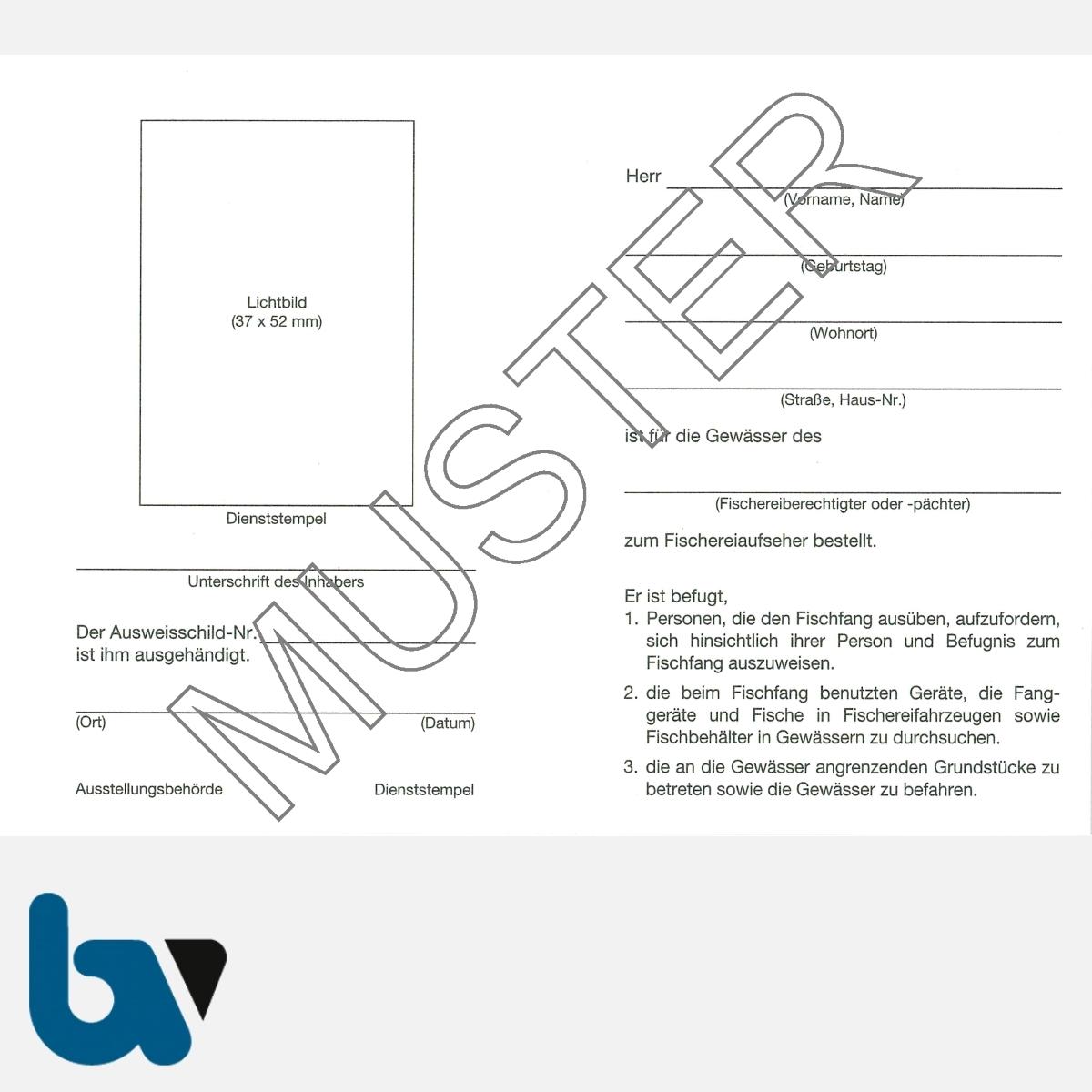 4/456-2 Ausweis für Fischereiaufseher weiß Neobond Muster RS   Borgard Verlag GmbH