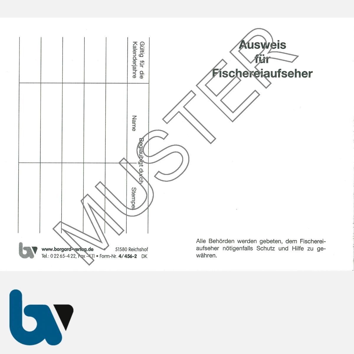 4/456-2 Ausweis für Fischereiaufseher weiß Neobond Muster VS   Borgard Verlag GmbH