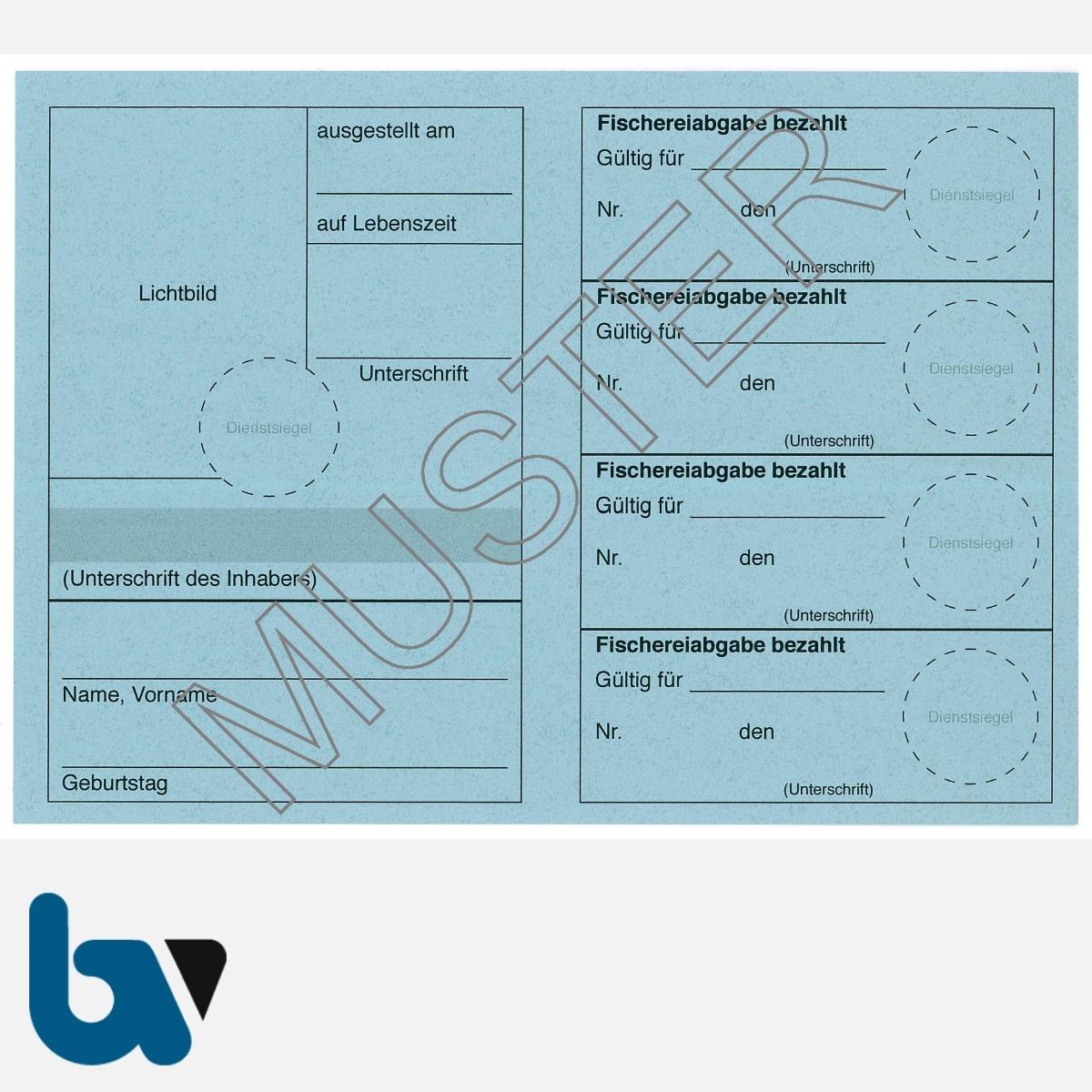 5/456-1 Fischereischein auf Lebenszeit BW Baden-Württemberg blau Neobond Muster RS   Borgard Verlag GmbH