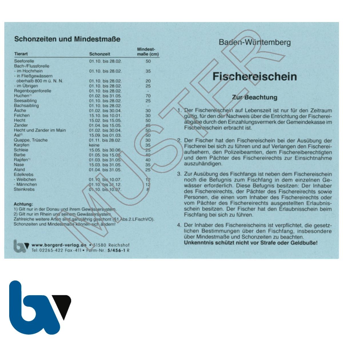 5/456-1 Fischereischein auf Lebenszeit BW Baden-Württemberg blau Neobond Muster Vorderseite   Borgard Verlag GmbH
