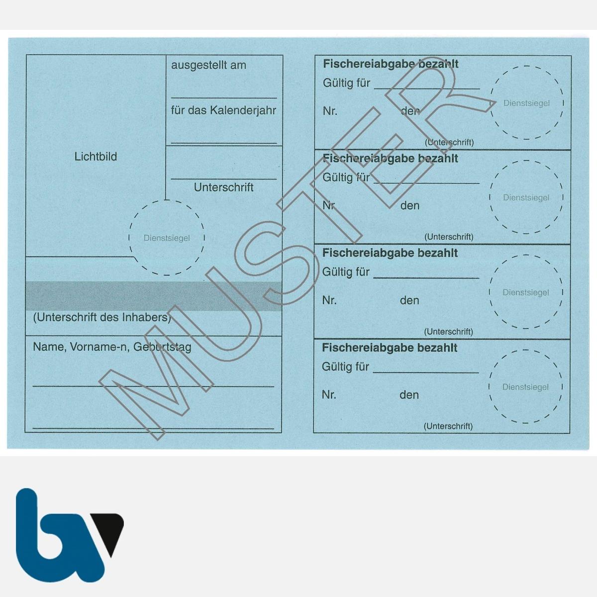 5/456-2 Jahresfischereischein BW Baden-Württemberg blau Neobond Muster RS   Borgard Verlag GmbH