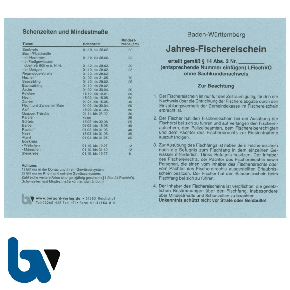 5/456-2 Jahresfischereischein BW Baden-Württemberg blau Neobond Muster Vorderseite   Borgard Verlag GmbH