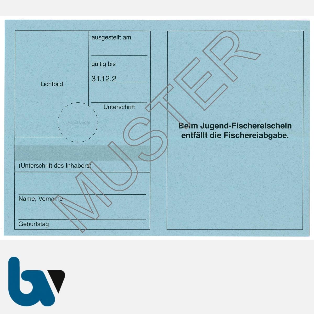 5/456-3 Jugendfischereischein BW Baden Württemberg blau Neobond Muster RS   Borgard Verlag GmbH