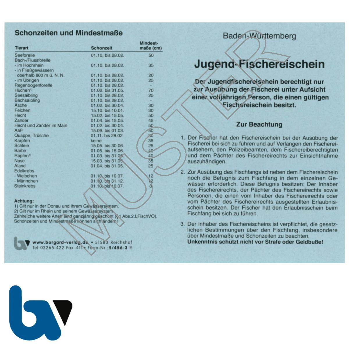 5/456-3 Jugendfischereischein BW Baden-Württemberg blau Neobond Muster Vorderseite   Borgard Verlag GmbH