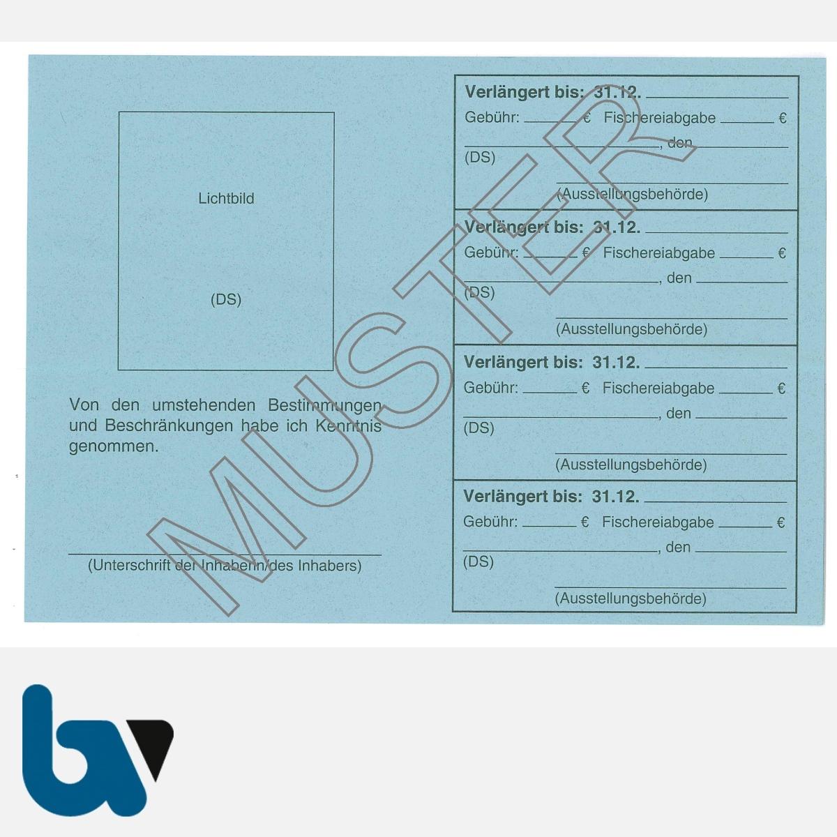 7/456-1 Fischereischein Saarland blau Neobond Muster RS   Borgard Verlag GmbH