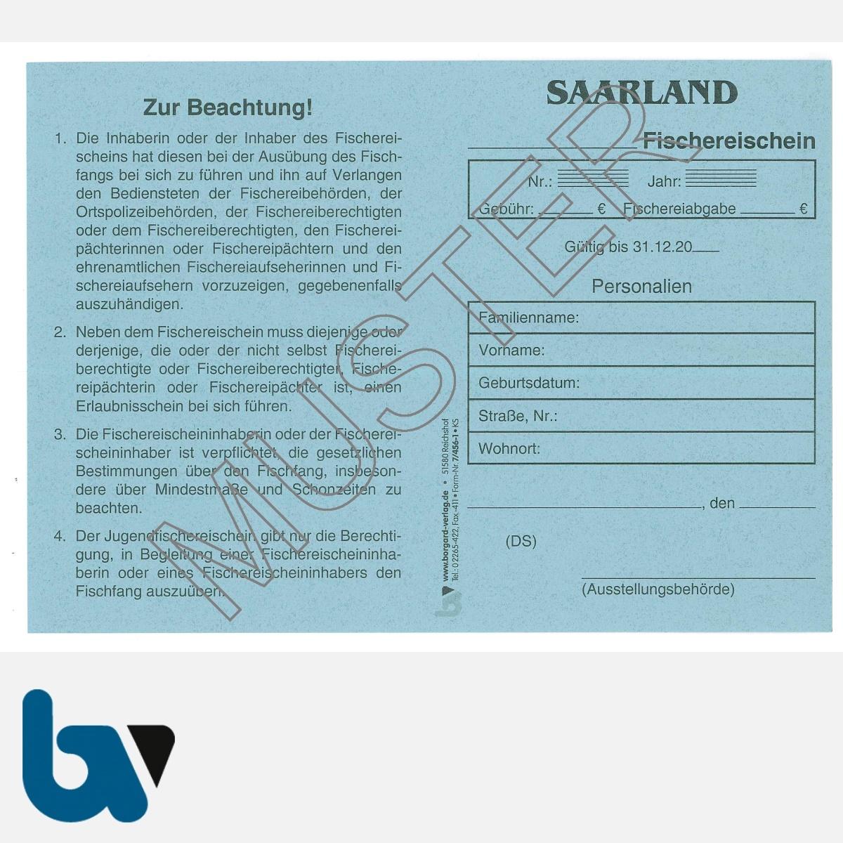 7/456-1 Fischereischein Saarland blau Neobond Muster VS   Borgard Verlag GmbH