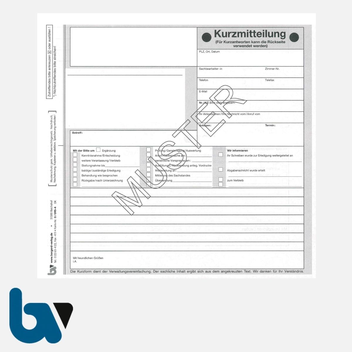 0/095-4 Kurzmitteilung Kurzantwort selbstdurchschreibend Einschlagdeckel DIN 20 21 2-fach Seite 1 | Borgard Verlag GmbH