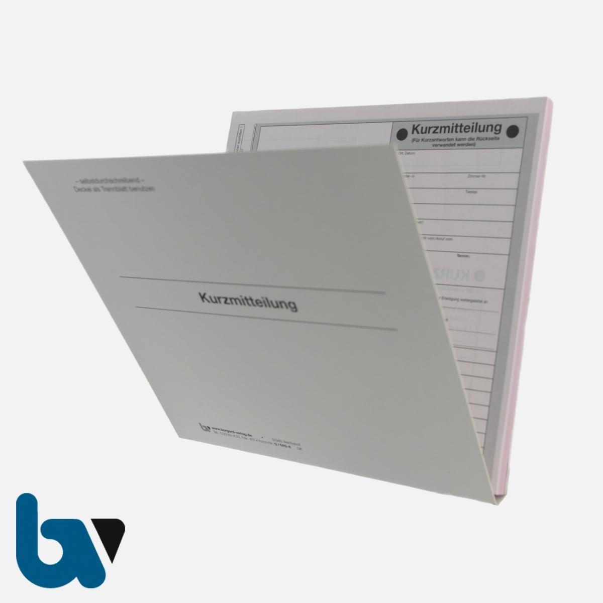 0/095-4 Kurzmitteilung selbstdurchschreibend Einschlagdeckel DIN 20 21 2-fach VS | Borgard Verlag GmbH