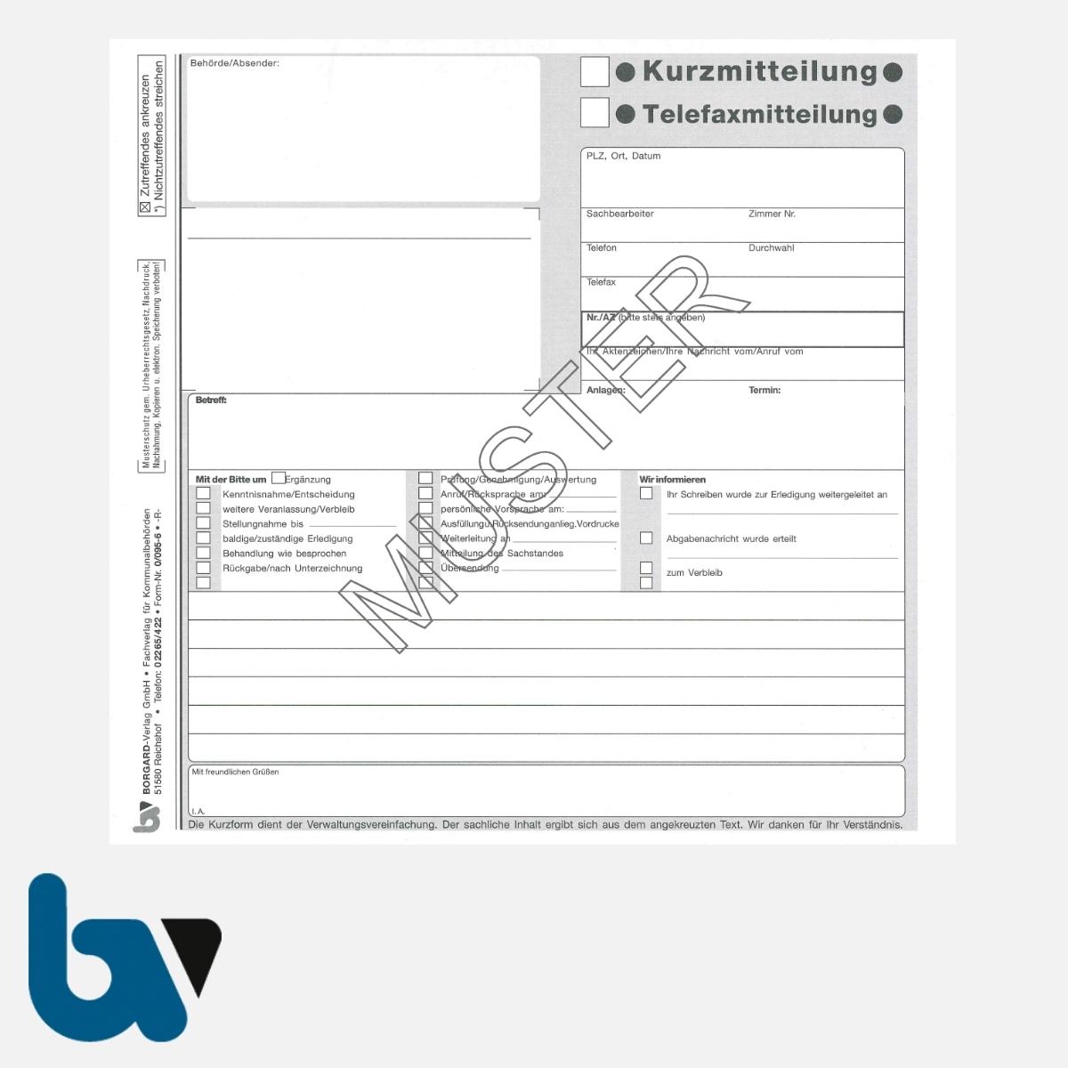0/095-6 Kurzmitteilung Telefaxmitteilung selbstdurchschreibend Einschlagdeckel DIN 20 21 2-fach Seite 1 | Borgard Verlag GmbH