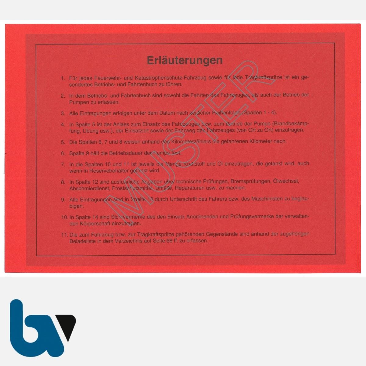 0/112-1 Fahrtenbuch Betriebsbuch Feuerwehr Katastrophenschutz Fahrzeuge Verwaltung Behörde DIN A5 Seite 2 | Borgard Verlag GmbH