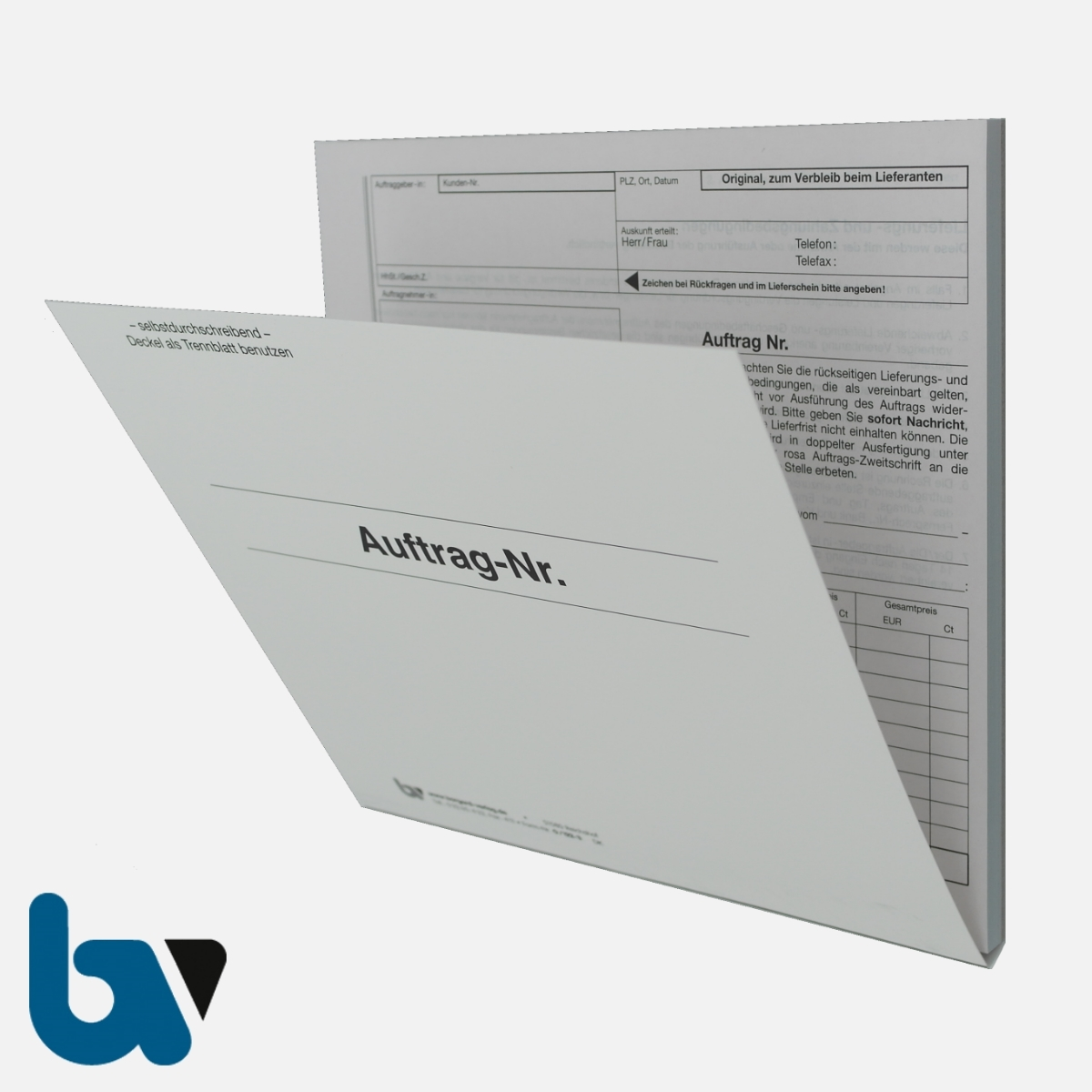 0/122-3 Auftrag Lieferung Zahlungsbedingung Verfügung selbstdurchschreibend Einschlagdeckel DIN 20 21 3-fach VS | Borgard Verlag GmbH