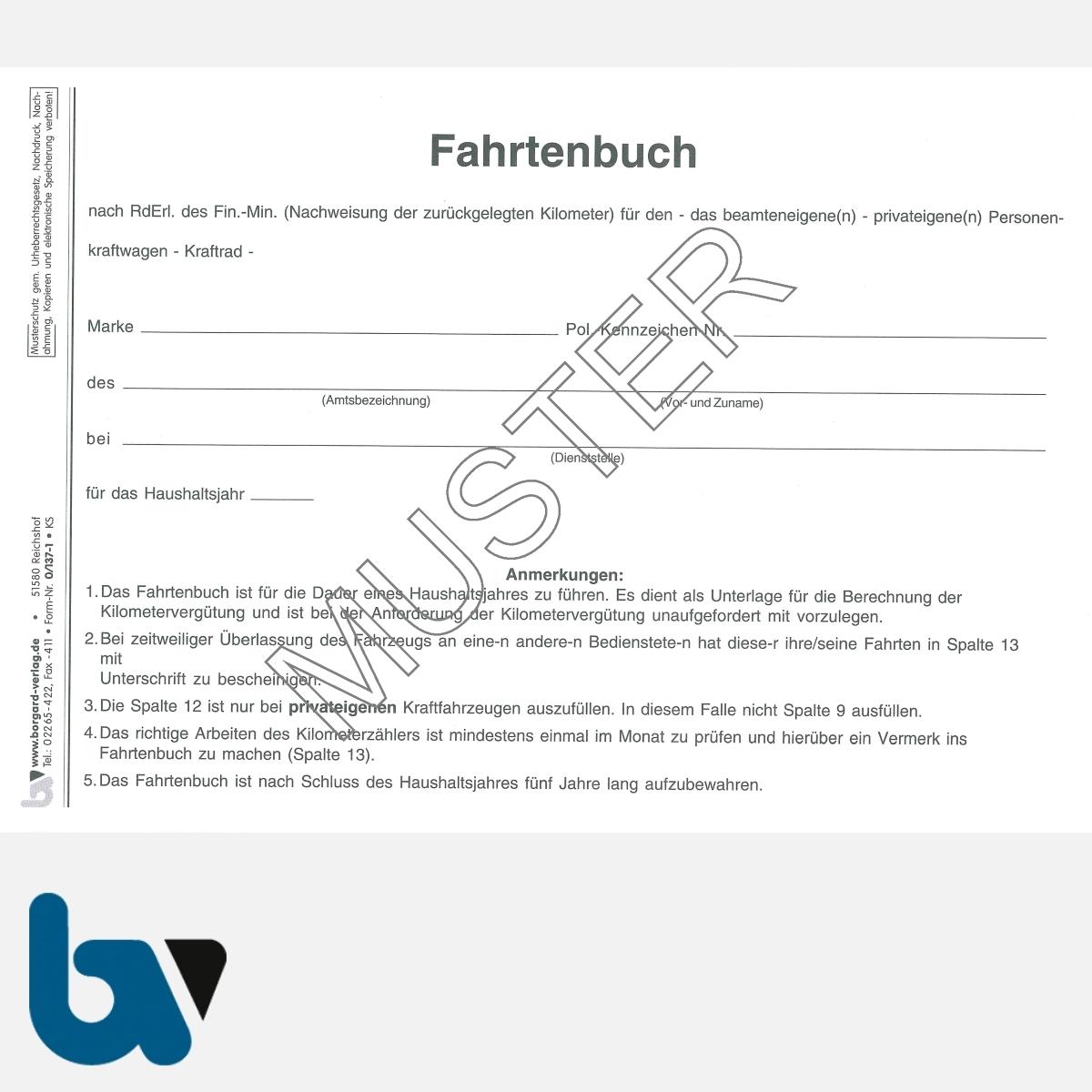 0/137-1 Fahrtenbuch beamteneigene privateigene Fahrzeug Dienstreise dienstlich Verwaltung Behörde DIN A5 Seite 2 | Borgard Verlag GmbH