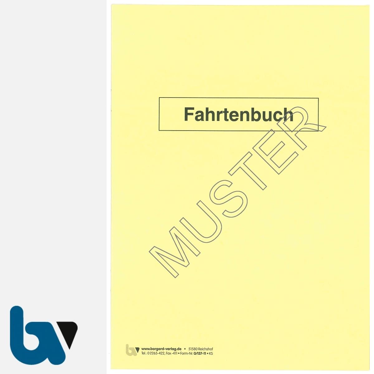 0/137-11 Fahrtenbuch Fahrzeug Dienstreise dienstlich Verwaltung Behörde DIN A5 Seite 1 | Borgard Verlag GmbH