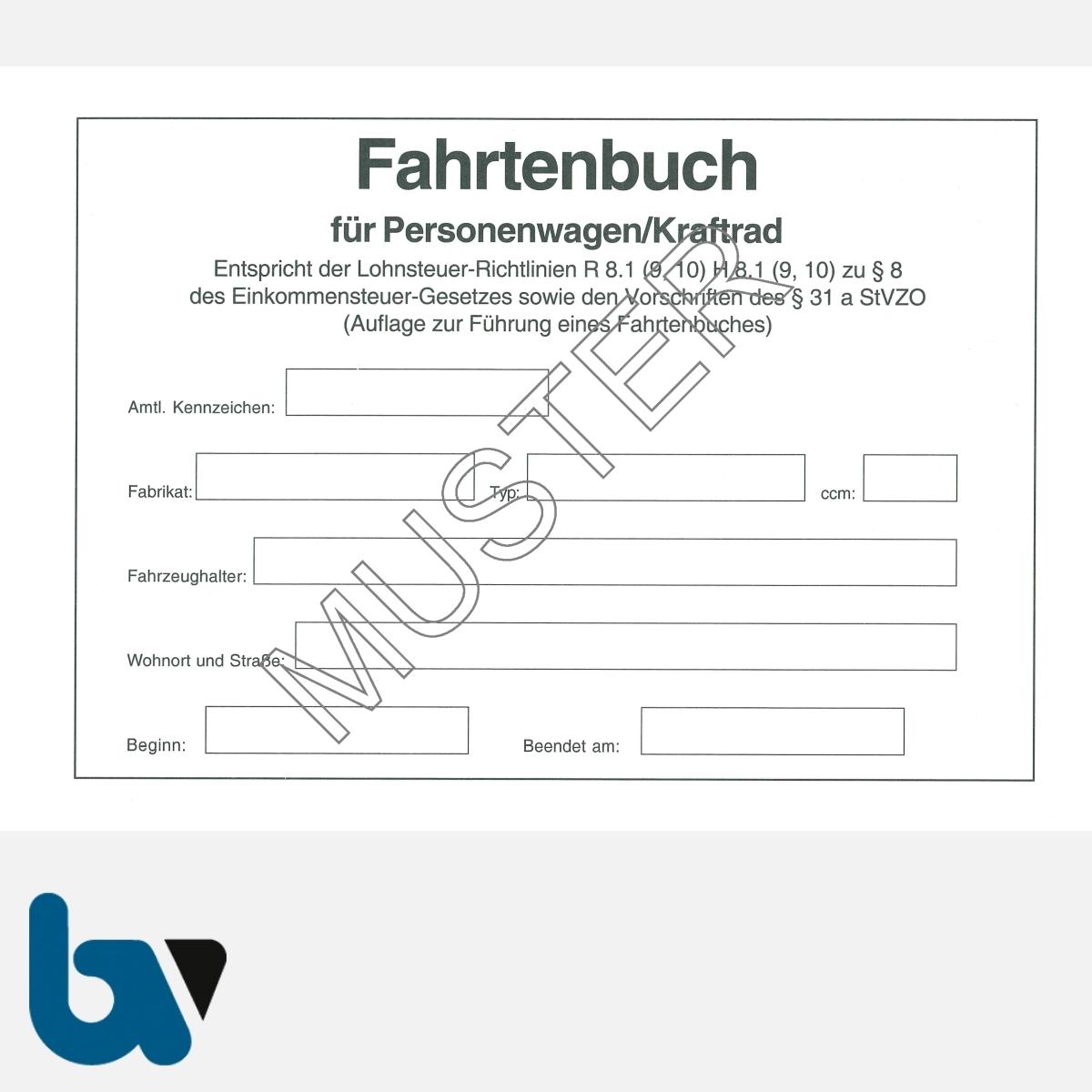 0/137-3 Fahrtenbuch Personenwagen Kraftrad Fahrzeug Lohnsteuer Richtlinie StVO EStG Einkommensteuer Verwaltung Behörde DIN A5 Seite 2 | Borgard Verlag GmbH