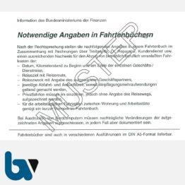 0/137-8 Fahrtenbuch Fahrzeug Bundesministerium Finanzen Dienstreise dienstlich Verwaltung Behörde DIN A6 Seite 2   Borgard Verlag GmbH