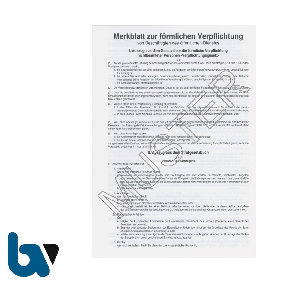 0/154-4 Merkblatt Förmliche Verpflichtung Beschäftigte Öffentlich Dienst Verpflichtungsgesetz Strafgesetzbuch Heft DIN A5 Seite 2 | Borgard Verlag GmbH