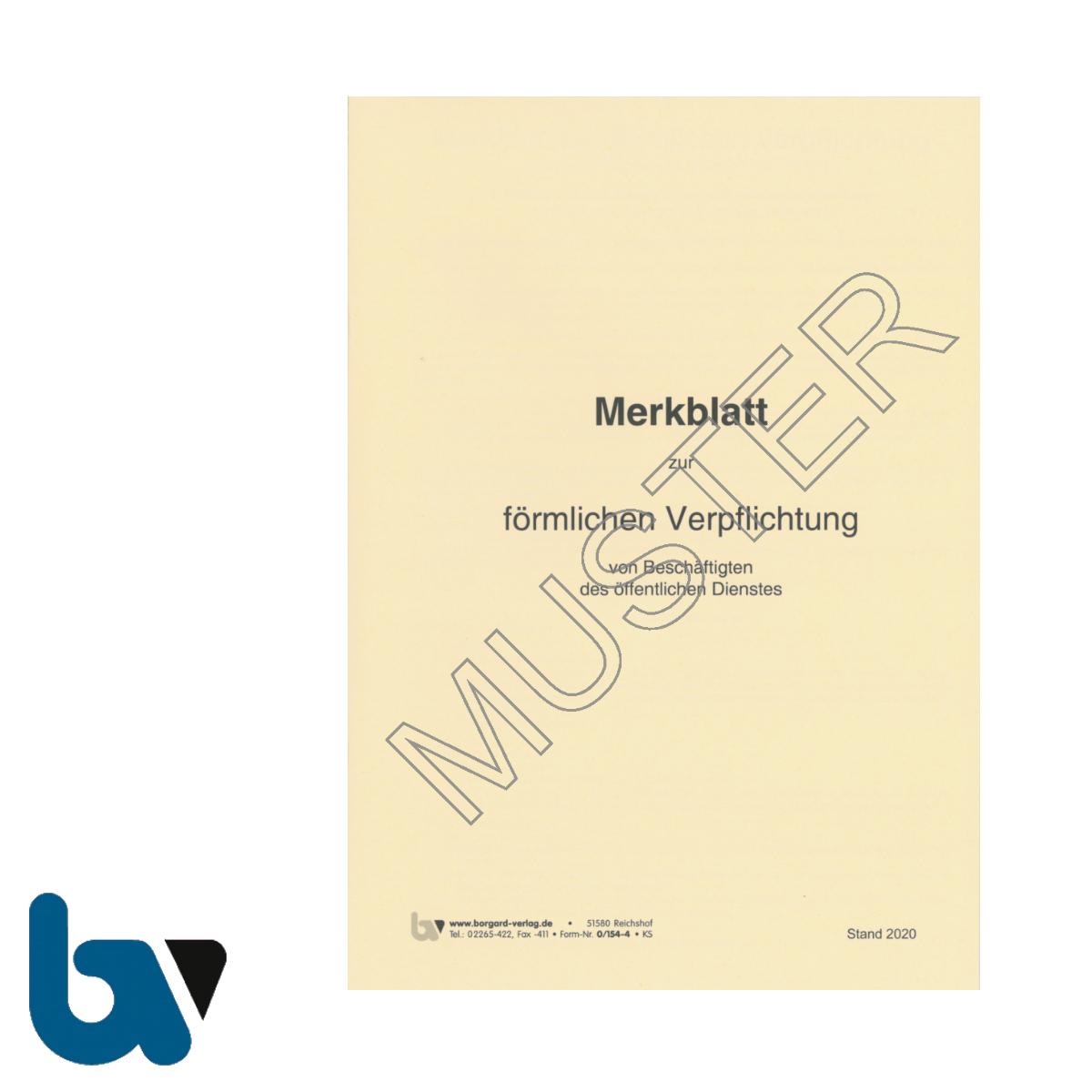 0/154-4 Merkblatt Förmliche Verpflichtung Beschäftigte Öffentlich Dienst Verpflichtungsgesetz Strafgesetzbuch Heft DIN A5 Vorderseite | Borgard Verlag GmbH