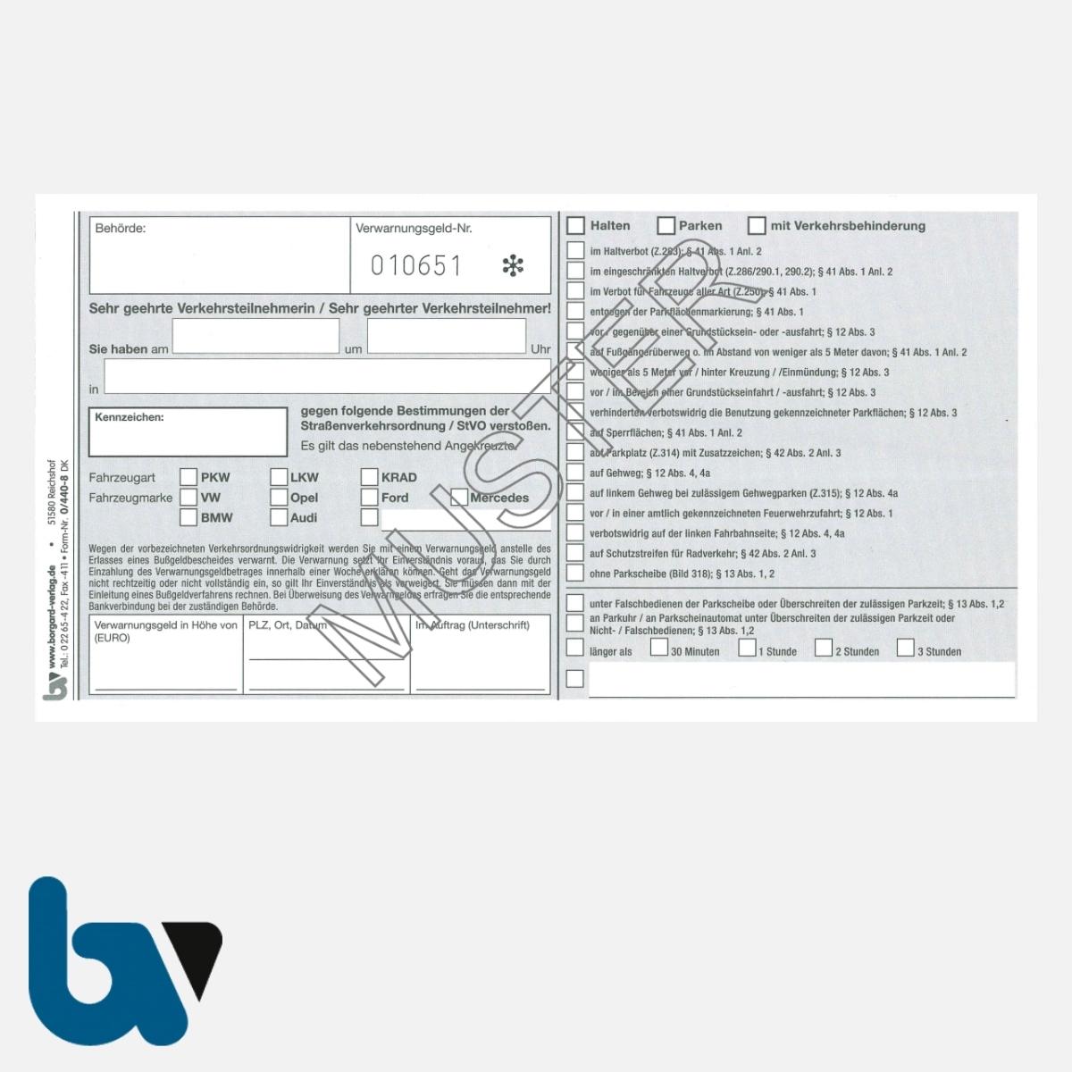 0/440-8 Verwarnung Verwarnungsgeldnummer fortlaufend Nummer Tatbestand selbstdurchschreibend Durchschreibeschutz DIN lang Seite 1 | Borgard Verlag GmbH