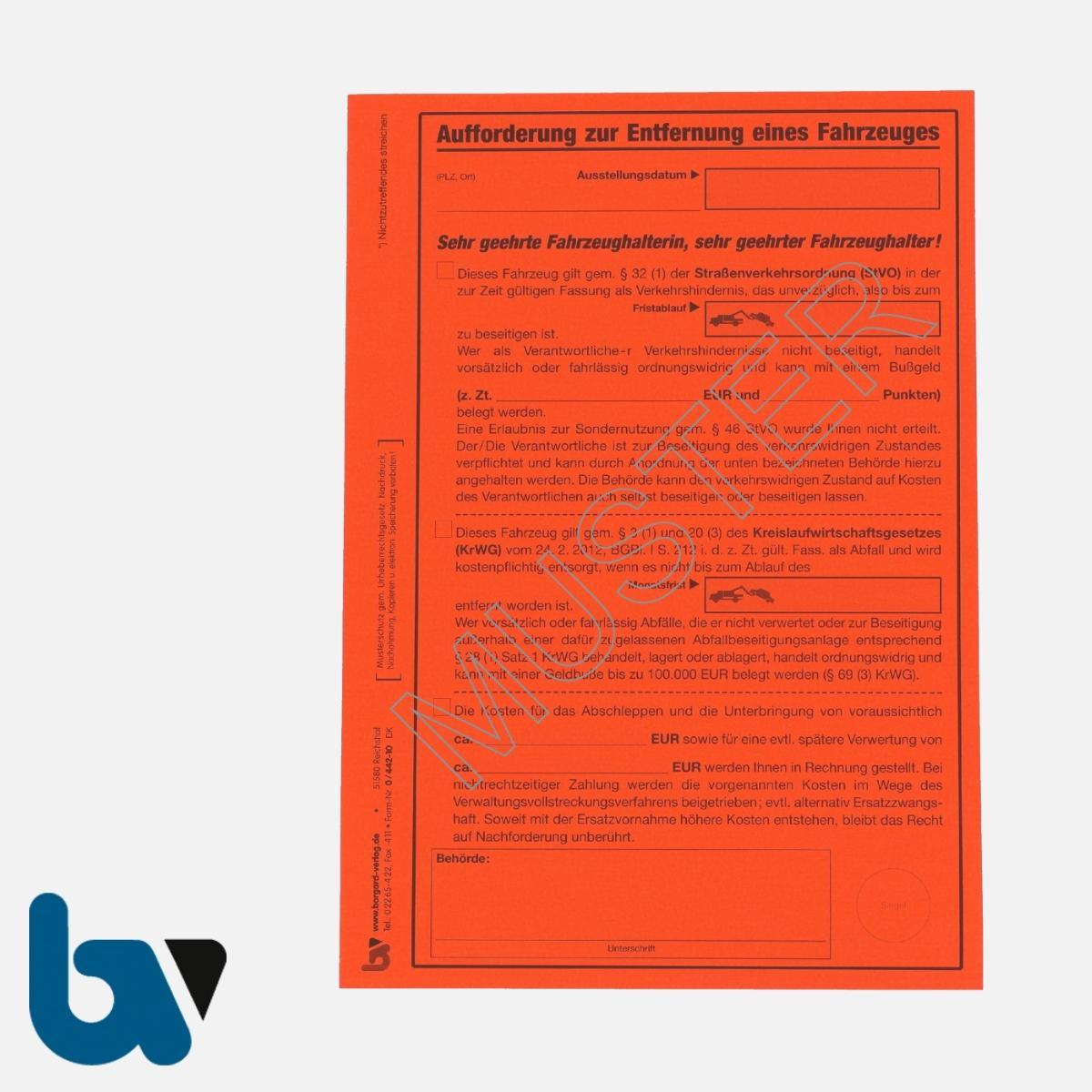 0/442-10 Aufkleber Aufforderung Entfernung Fahrzeug selbstklebend Straßenverkehrsordnung StVO Kreislaufwirtschaft KrWG Aufnahmeprotokoll Abfall DIN A5 VS | Borgard Verlag GmbH