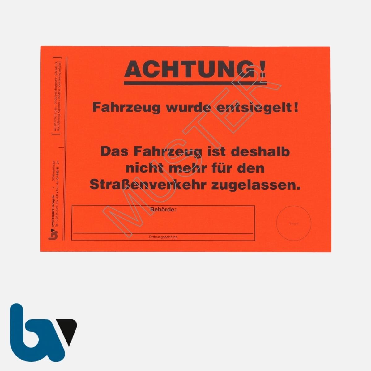 0/442-11 Aufkleber Aufforderung Fahrzeug selbstklebend Achtung entsiegelt Abfall DIN A5 | Borgard Verlag GmbH