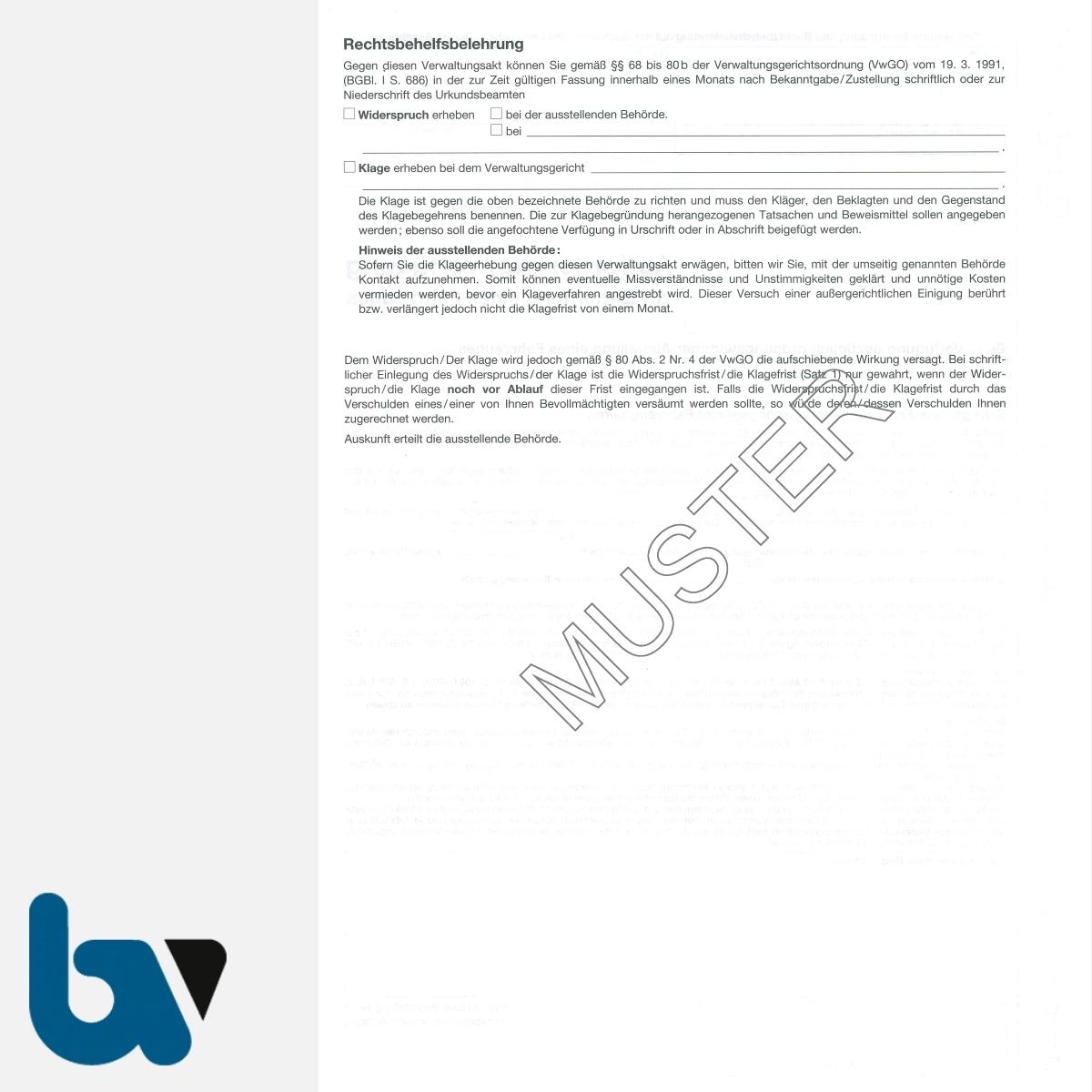 0/442-4 Aufforderung Verfügung Entfernung Fahrzeug Straßenverkehrsordnung-StVO DIN A4 3-fach RS | Borgard Verlag GmbH