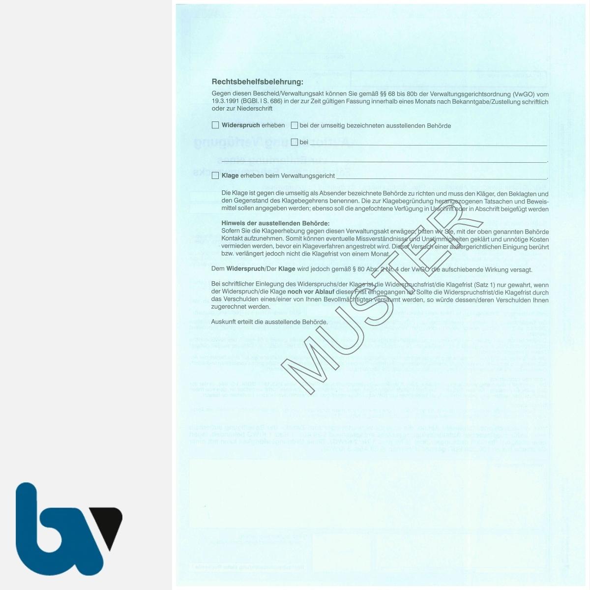 0/442-7 Aufforderung Verfügung Entfernung Fahrzeug Fahrzeugwrack Kreislaufwirtschaftsgesetz KrWG DIN A4 3-fach RS | Borgard Verlag GmbH