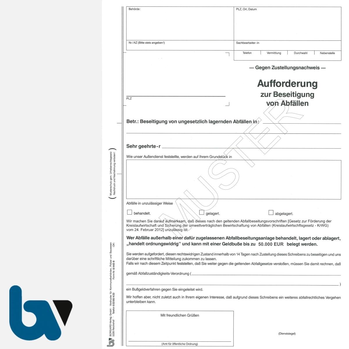 0/442-8 Aufforderung Beseitigung Abfälle Abfall Kreislaufwirtschaftsgesetz KrWG selbstdurchschreibend DIN A4 3-fach | Borgard Verlag GmbH