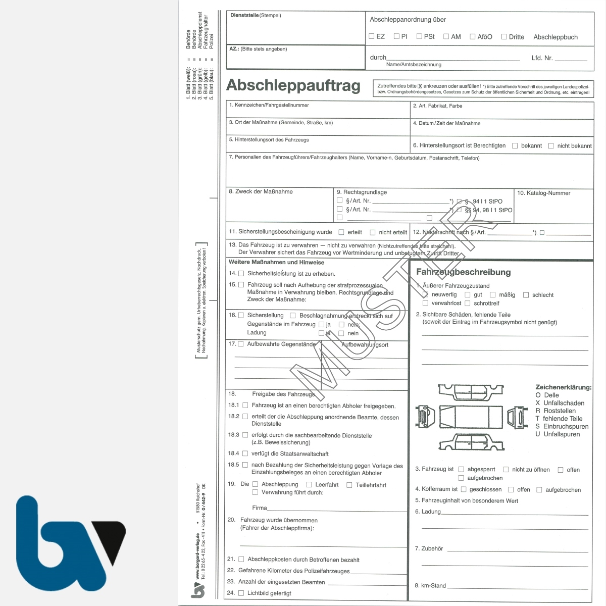 0/442-9 Abschleppauftrag Anordnung Sicherstellung Fahrzeugbeschreibung DIN A4 5-fach | Borgard Verlag GmbH