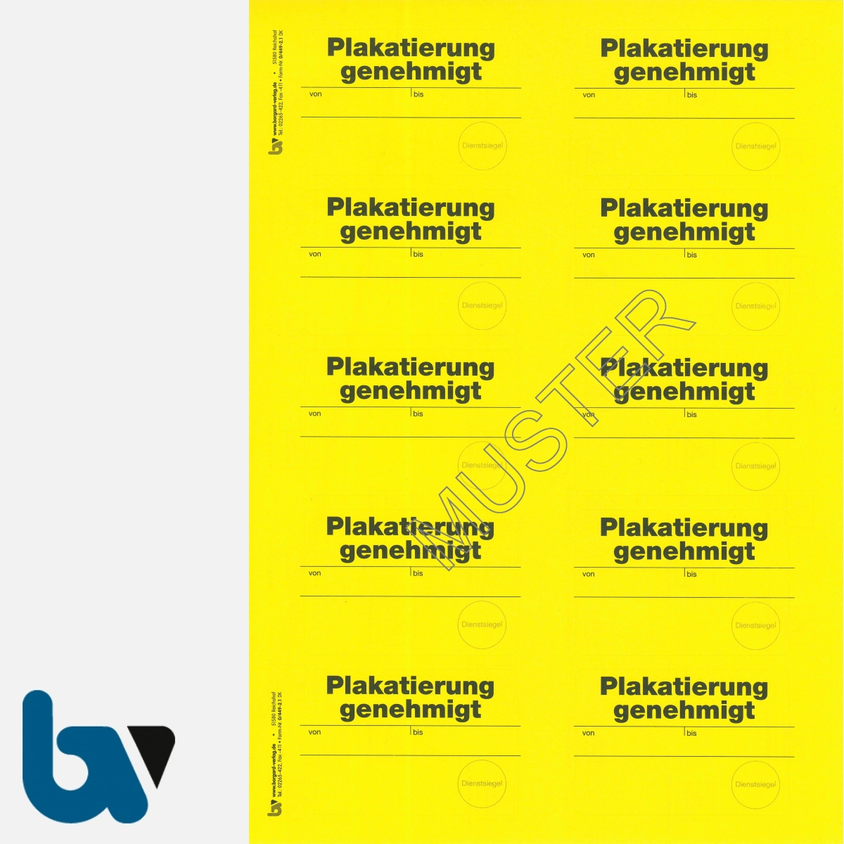 0/449-2.1 Aufkleber Plakatierung genehmigt leucht-gelb 75 50 selbstklebend Bogen 10 stück DIN A4   Borgard Verlag GmbH
