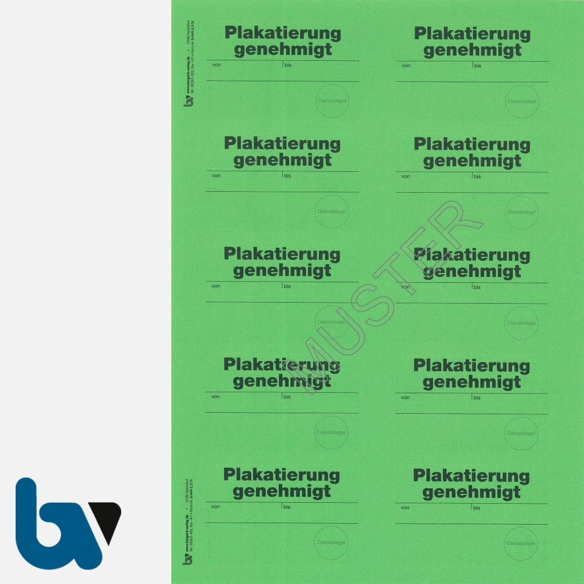 0/449-2.2 Aufkleber Plakatierung genehmigt leucht-grün 75 50 selbstklebend Bogen 10 stück DIN A4 | Borgard Verlag GmbH