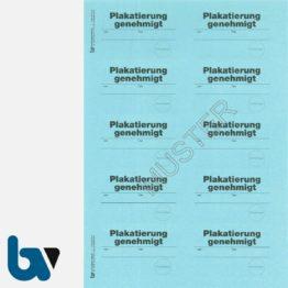 0/449-2.3 Aufkleber Plakatierung genehmigt leucht-blau 75 50 selbstklebend Bogen 10 Stück DIN A4 | Borgard Verlag GmbH