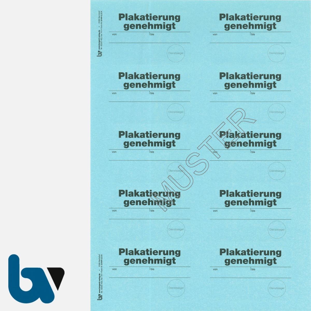 0/449-2.3 Aufkleber Plakatierung genehmigt leucht-blau 75 50 selbstklebend Bogen 10 Stück DIN A4   Borgard Verlag GmbH