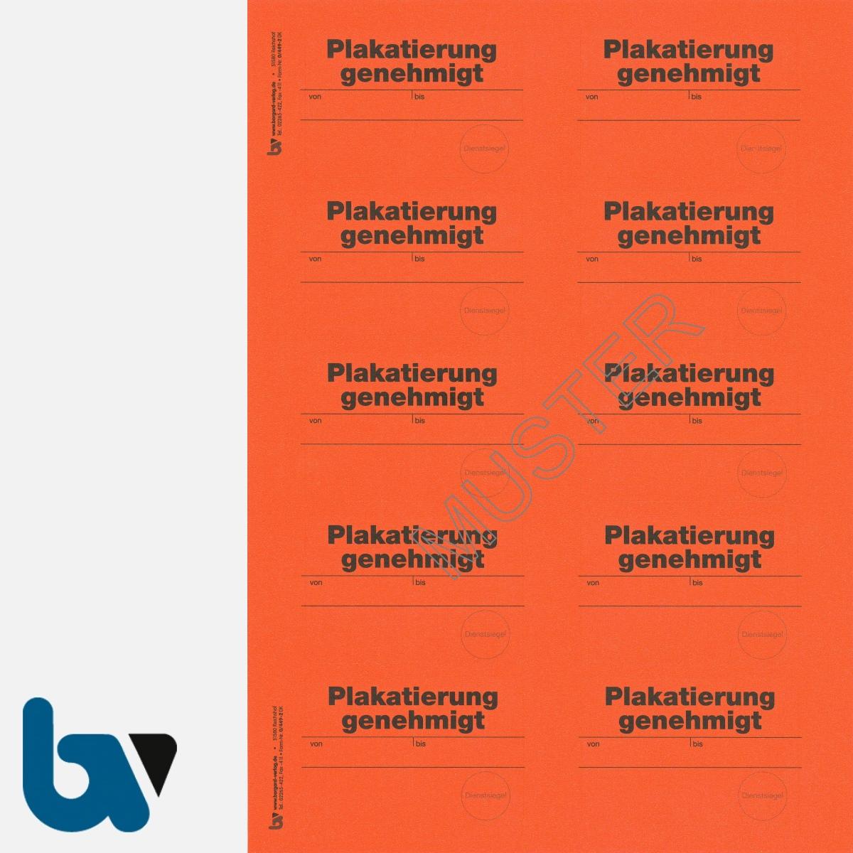 0/449-2 Aufkleber Plakatierung genehmigt leucht-rot 75 50 selbstklebend Bogen 10 Stück DIN A4 | Borgard Verlag GmbH