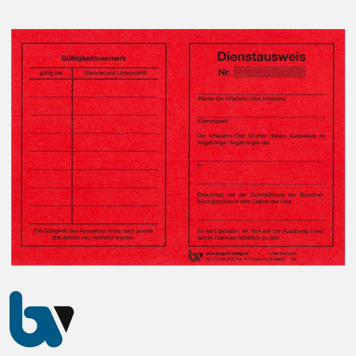 0/461-2 Dienstausweis Feuerwehr rot Neobond DIN A6 VS | Borgard Verlag GmbH