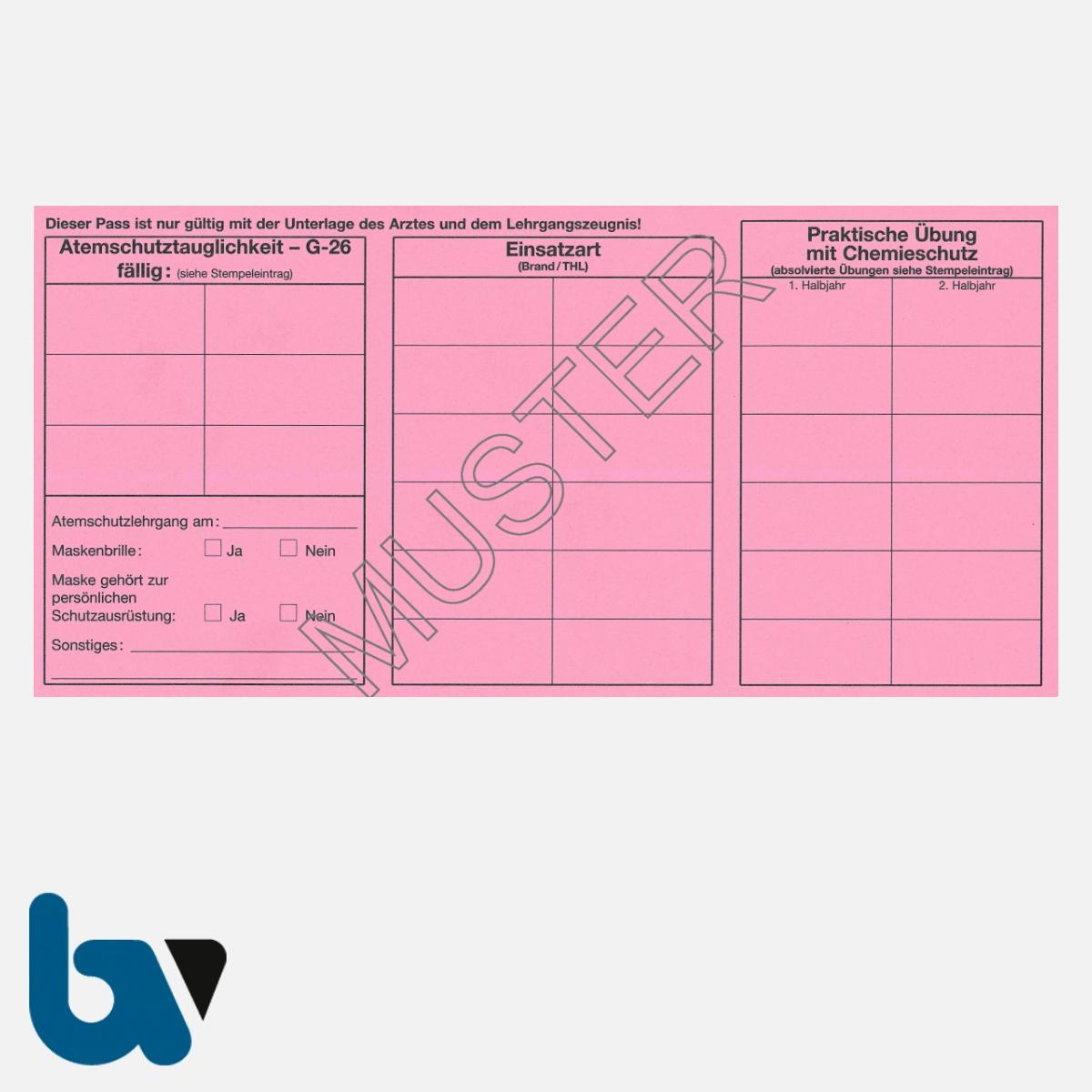 0/462-1 Atemschutzpass Atemschutzträger Feuerwehr rosa Neobond RS | Borgard Verlag GmbH