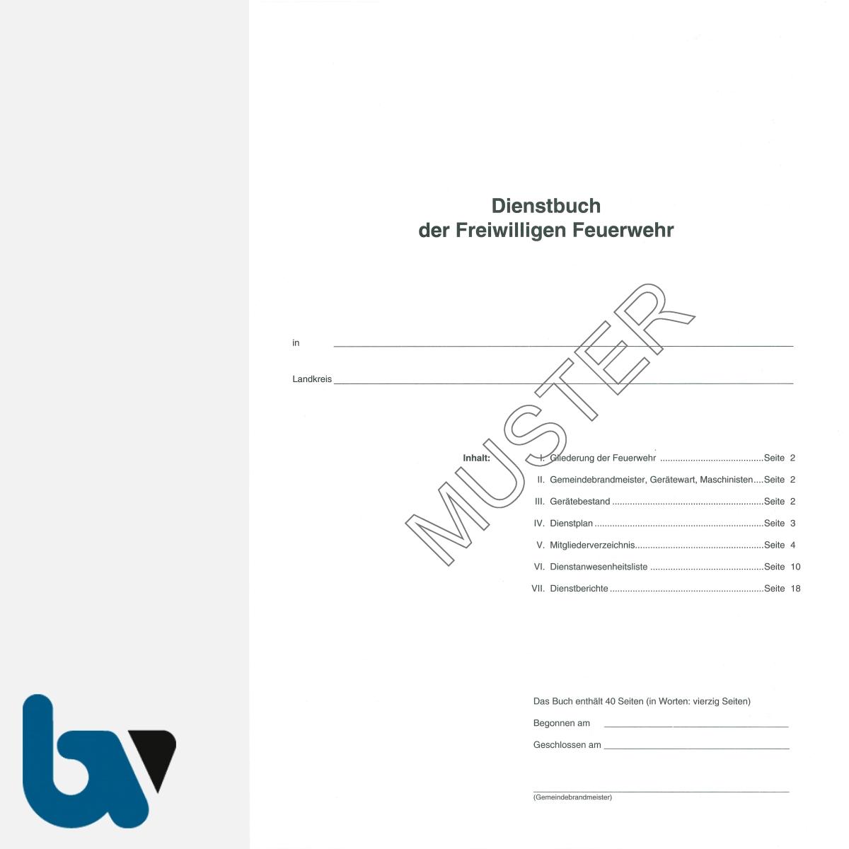 0/468-1 Dienstbuch Freiwillige Feuerwehr Bericht rot Umschlag wetterfest beschichtet 40 Seiten DIN A4 Seite 1 | Borgard Verlag GmbH
