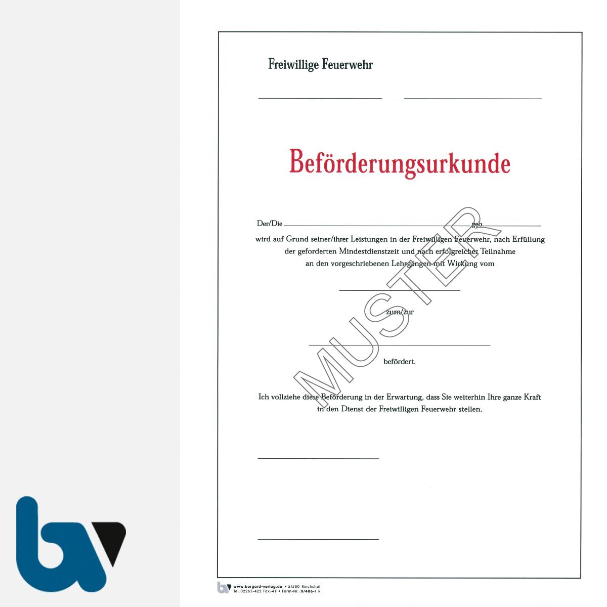 0/486-1 Beförderungsurkunde Feuerwehr Karton DIN A4 | Borgard Verlag GmbH