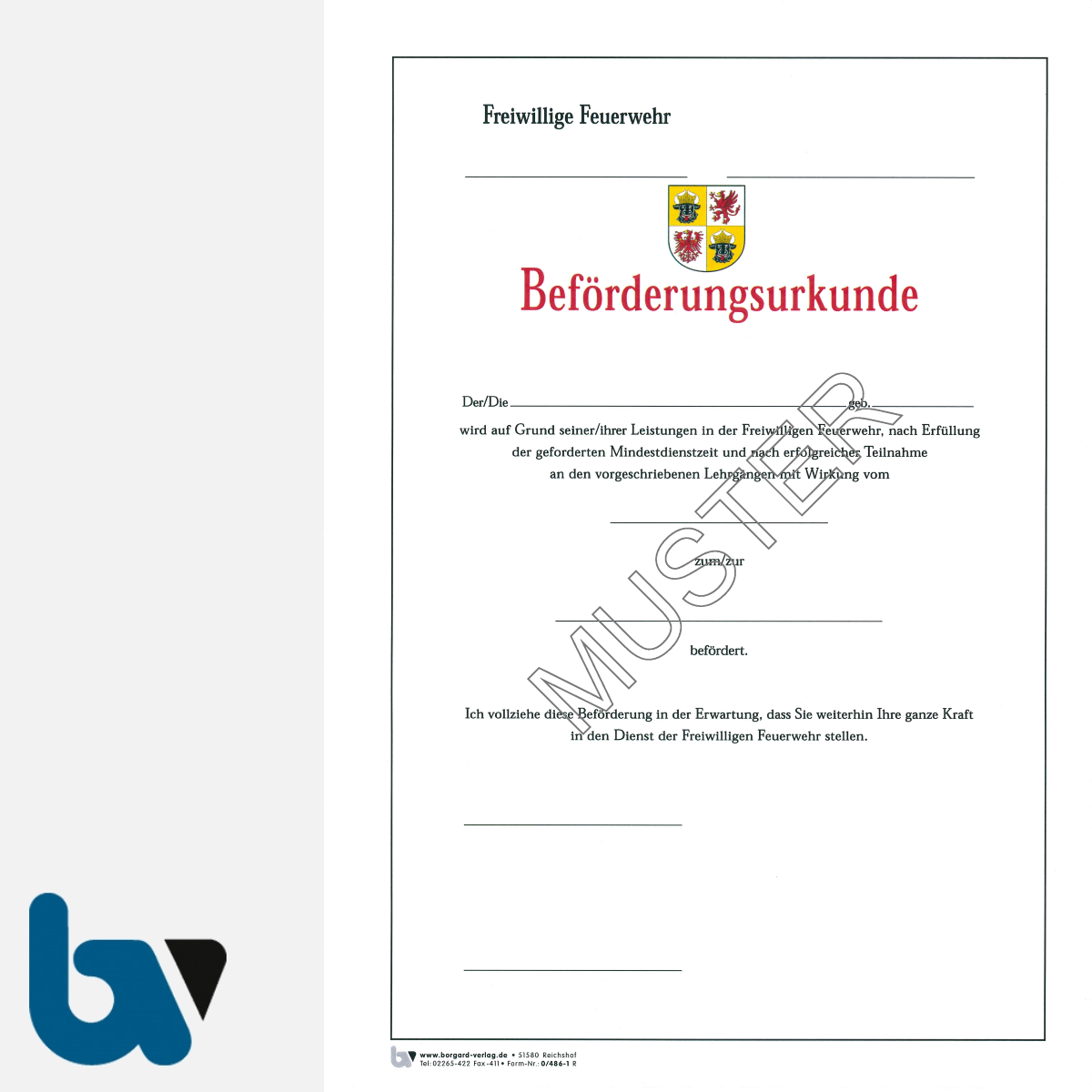 0/486-1 Beförderungsurkunde Feuerwehr Karton Mecklenburg-Vorpommern DIN A4 | Borgard Verlag GmbH
