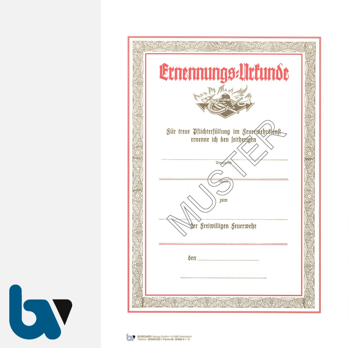 0/486-4 Ernennungsurkunde Feuerwehr Karton Hammerschlag selbstdurchschreibend DIN A4 2-fach | Borgard Verlag GmbH