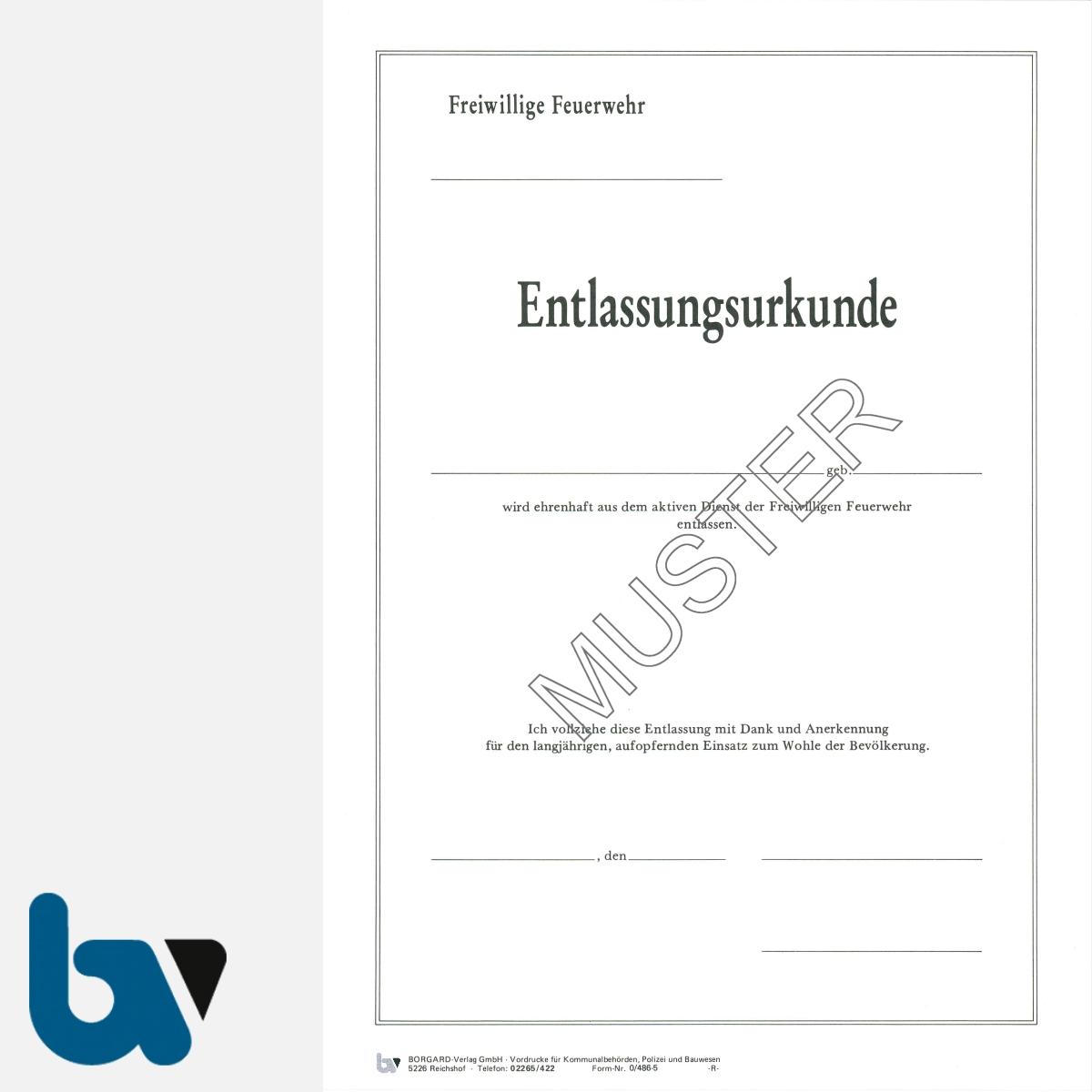 0/486-5 Entlassungsurkunde Feuerwehr Karton Hammerschlag selbstdurchschreibend DIN A4 2-fach VS | Borgard Verlag GmbH