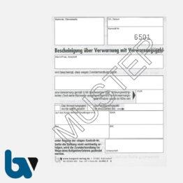 0/492-7 Bescheinigung Verwarnung fortlaufend Nummer selbstdurchschreibend Durchschreibeschutz DIN A6 Seite 1 | Borgard Verlag GmbH