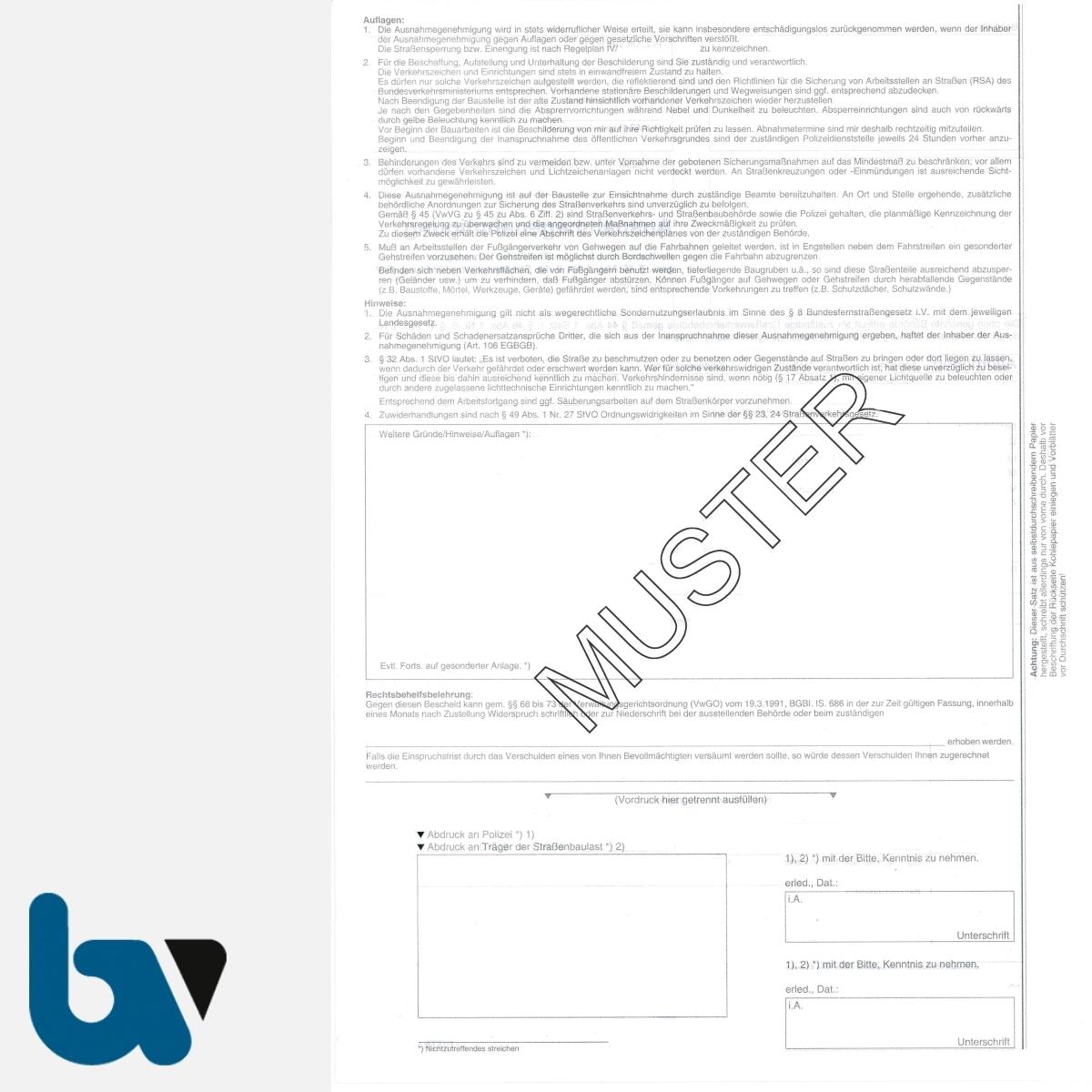 0/497-1 Ausnahmegenehmigung Inanspruchnahme öffentlich Verkehrsraum Straßenraum Arbeiten 44 46 47 Straßenverkehrsordnung StVO selbstdurchschreibend DIN A4 5-fach RS | Borgard Verlag GmbH