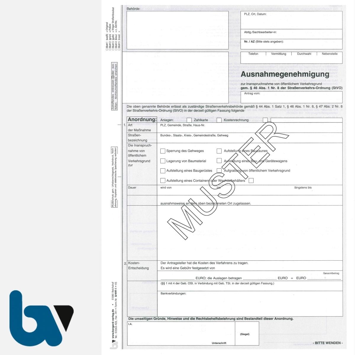 0/497-1 Ausnahmegenehmigung Inanspruchnahme öffentlich Verkehrsraum Straßenraum Arbeiten 44 46 47 Straßenverkehrsordnung StVO selbstdurchschreibend DIN A4 5-fach VS | Borgard Verlag GmbH