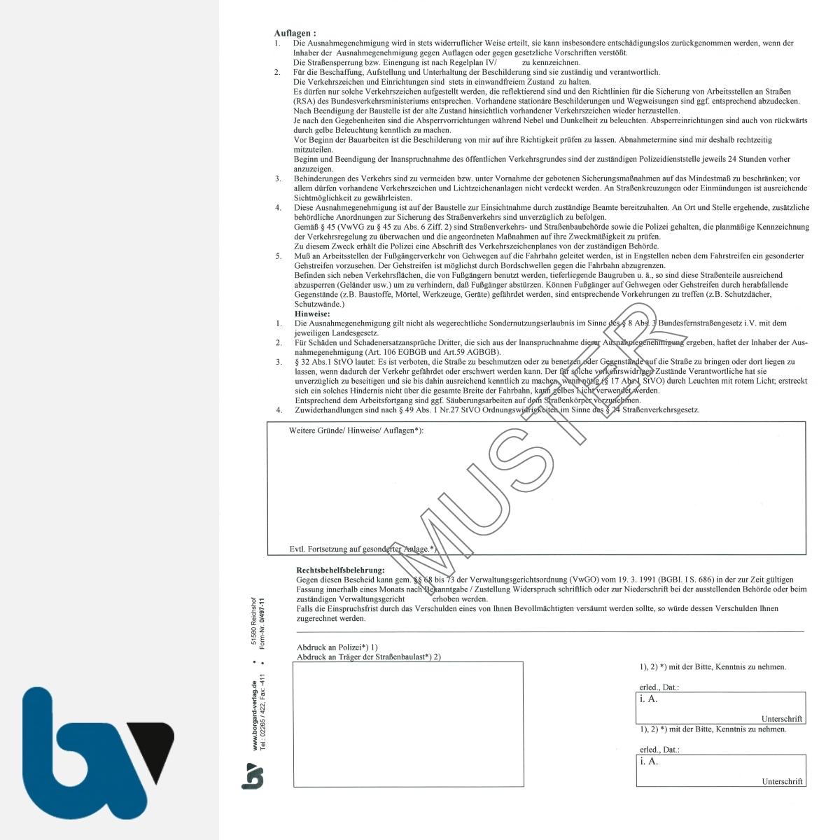0/497-11 Ausnahmegenehmigung 46 Straßenverkehrsordnung StVO Bewilligung Parkerleichterung Handwerker Handelsvertreter soziale Dienste DIN A4 2-fach RS | Borgard Verlag GmbH