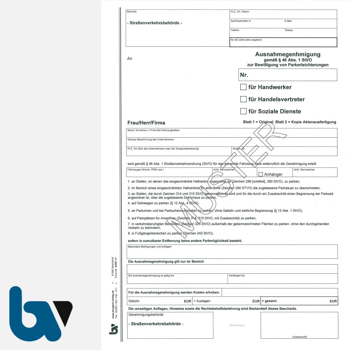 0/497-11 Ausnahmegenehmigung 46 Straßenverkehrsordnung StVO Bewilligung Parkerleichterung Handwerker Handelsvertreter soziale Dienste DIN A4 2-fach VS | Borgard Verlag GmbH