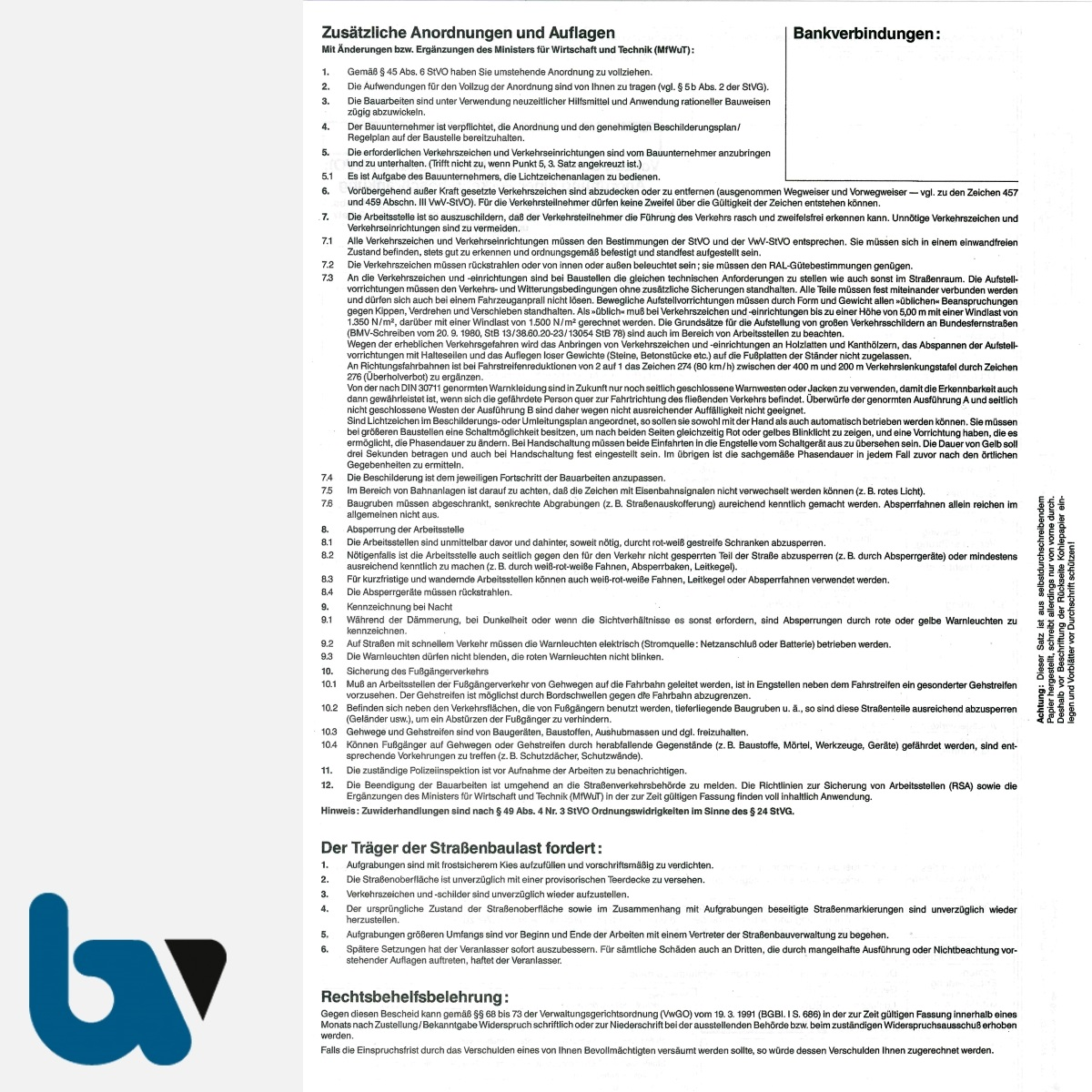 0/497-3 Anordnung Verkehrsbeschränkung Vollzug 44 45 Straßenverkehrsordnung StVO Arbeiten Verkehrsraum Straßenraum selbstdurchschreibend DIN A4 5-fach RS | Borgard Verlag GmbH