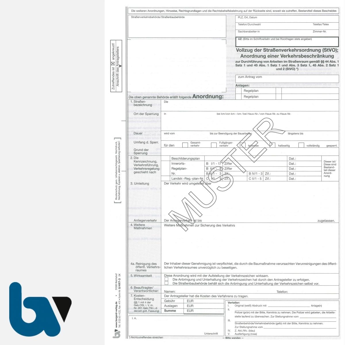 0/497-3 Anordnung Verkehrsbeschränkung Vollzug 44 45 Straßenverkehrsordnung StVO Arbeiten Verkehrsraum Straßenraum selbstdurchschreibend DIN A4 5-fach VS | Borgard Verlag GmbH