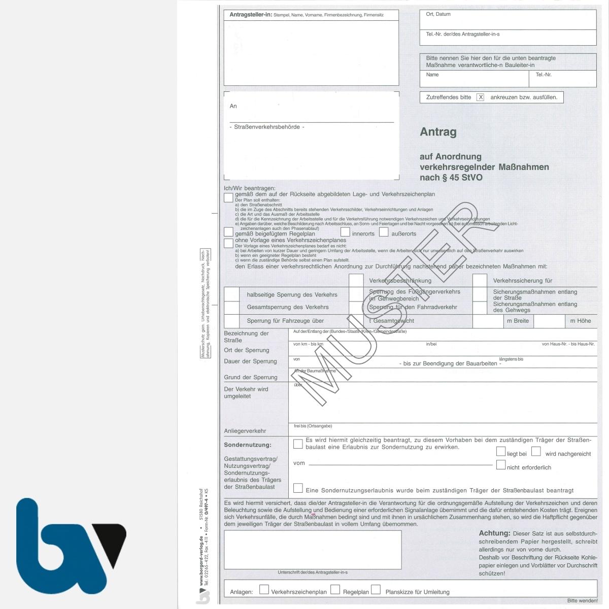 0/497-4 Antrag Anordnung verkehrsregelnde Maßnahmen 45 Strassenverkehrsordnung StVO selbstdurchschreibend DIN A4 3-fach VS | Borgard Verlag GmbH