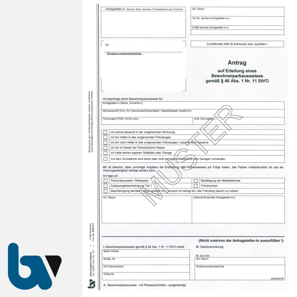 0/497-6.1 Antrag Erteilung Ausnahmegenehmigung 46 Straßenverkehrsordnung StVO Bewilligung Bewohnerparkausweis selbstdurchschreibend DIN A4 2-fach | Borgard Verlag GmbH